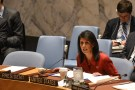 United States Ambassador to the United Nations Nikki Haley delivers introductory remarks during the Security Council meeting on the situation in Syria at the United Nations Headquarters, in New York