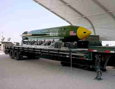 DATE IMPORTED:April 13, 2017The GBU-43/B Massive Ordnance Air Blast (MOAB) bomb is pictured in this undated handout photo. Eglin Air Force Base/Handout via REUTERS ATTENTION EDITORS - THIS IMAGE WAS PROVIDED BY A THIRD PARTY. EDITORIAL USE ONLY.