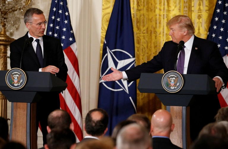 U.S. President Donald Trump (R) and NATO Secretary General Jens Stoltenberg hold a joint news conference in the East Room at the White House in Washington, U.S., April 12, 2017. REUTERS/Jonathan Ernst - RTX35B7U