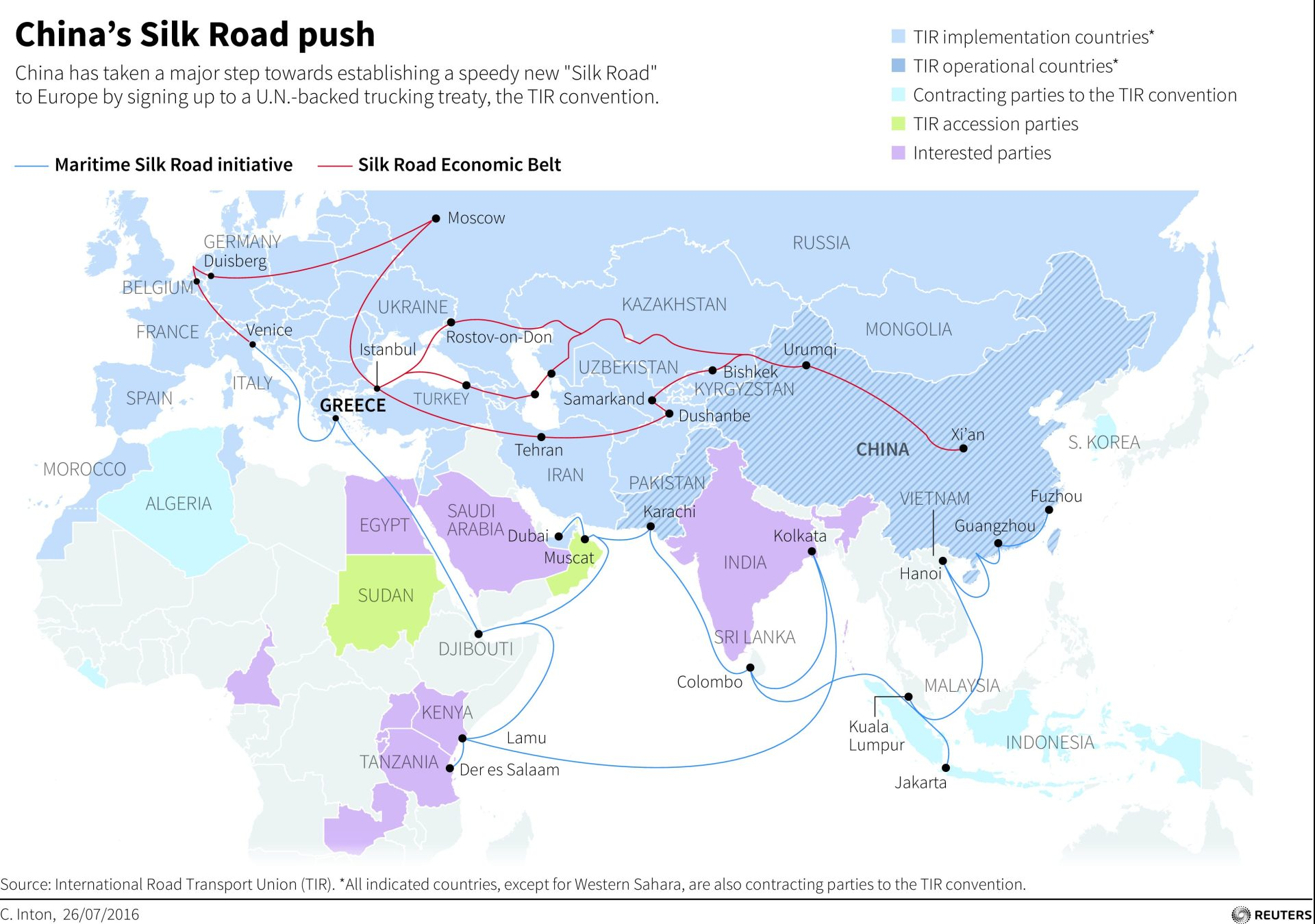 Map showing the routes for China's One Belt, One Road initiative