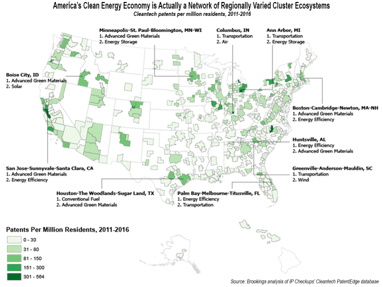 America's clean energy economy is actually a network of regionally varied cluster ecosystems; cleantech patents per million residents, 2011-2016