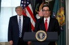 Treasury Secretary Steve Mnuchin speaks during a signing ceremony with President Donald Trump at the Treasury Department in Washington, U.S., April 21, 2017.  REUTERS/Aaron P. Bernstein - RTS13DDU