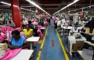 Employees work on the manufacturing line at the United Aryan Export Processing Zone textile factory in Nairobi, Kenya April 13, 2017. Picture taken April 13, 2017. REUTERS/Baz Ratner - RTS13BCB