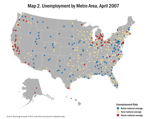 Map of unemployment by metro area, April 2007