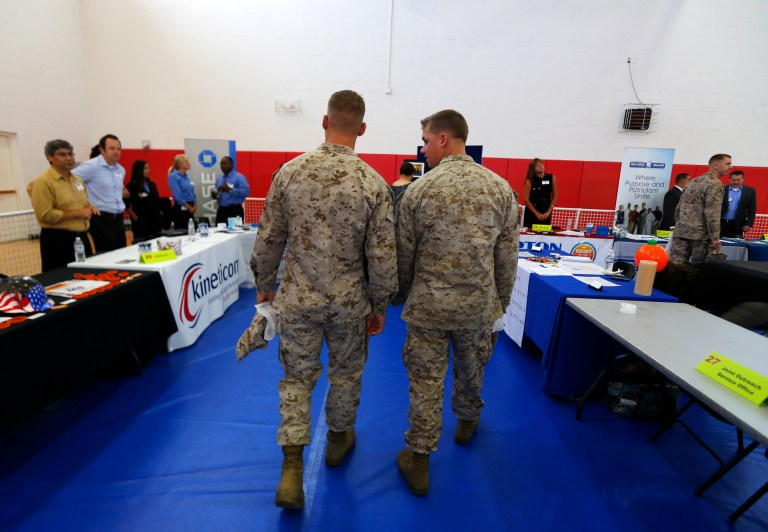U.S. Marines attend a career and education fair at the Marine Corps Recruit Depot in San Diego