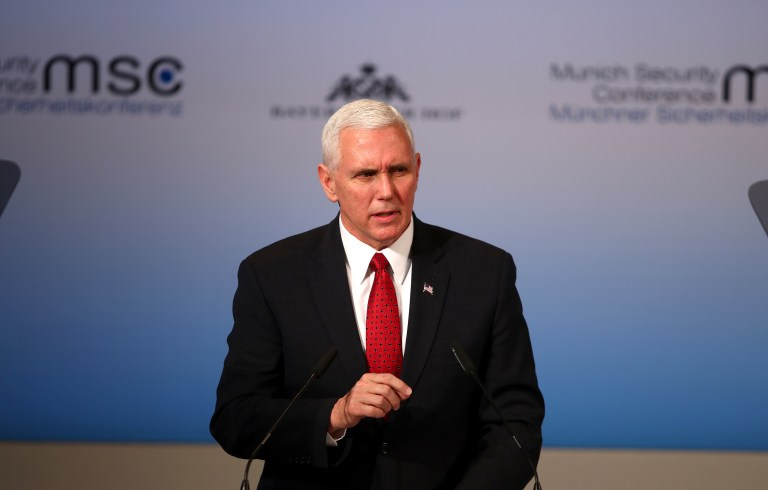U.S. Vice President Pence speaks at 2017 Munich Security Conference