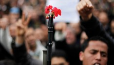 A soldier stands with flowers in the barrel of his gun in front of the headquarters of the Constitutional Democratic Rally (RCD) party of ousted president Zine al-Abidine Ben Ali during a demonstration in downtown Tunis, January 20, 2011. Tunisian police fired shots into the air on Thursday to try to disperse hundreds of protesters demanding that ministers associated with the rule of ousted president Zine al-Abidine Ben Ali leave the government. The protesters, who had gathered outside the central Tunis headquarters of the RCD, Tunisia's ruling party for several decades, refused to move back when the police fired shots from behind a metal fence. REUTERS/ Finbarr O'Reilly (TUNISIA - Tags: CIVIL UNREST POLITICS) - GM1E71K1QVN01