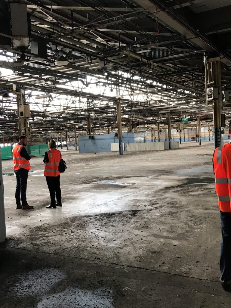 "Touring Fishermans Bend. Creating an authentic industrial flex space for start-ups and scale-ups could help generate a ""critical mass"" of workers in a walkable radius. Photo: Julie Wagner"