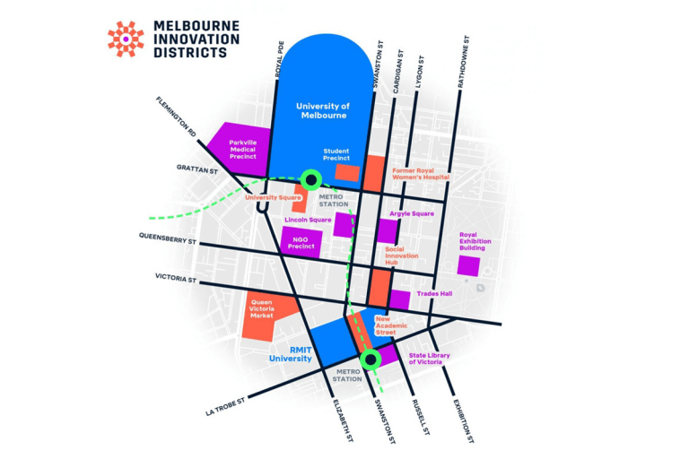 Map of Melbourne Innovation District. Photo: city of Melbourne