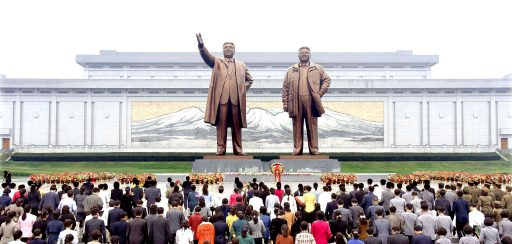 Floral tributes are paid to the statues of North Korea founder Kim Il Sung and late leader Kim Jong Il by service personnel, working people, school youth and children on the occasion of the 72nd founding anniversary of the Workers' Party of Korea (WPK) in Pyongyang, North Korea in this undated photo released by North Korea's Korean Central News Agency (KCNA) on October 10, 2017. KCNA/via REUTERS ATTENTION EDITORS - THIS PICTURE WAS PROVIDED BY A THIRD PARTY. NO THIRD PARTY SALES. SOUTH KOREA OUT. NO COMMERCIAL OR EDITORIAL SALES IN SOUTH KOREA. - RC17E383C9D0