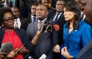 U.S. Ambassador to the United Nations Nikki Haley and President of Congo's electoral commission (CENI) Corneille Nangaa (C) addresses the media at the CENI headquarters in Gombe, Kinshasa, Democratic Republic of Congo, October 27, 2017. REUTERS/Robert Carrubba - RC1216DDA670