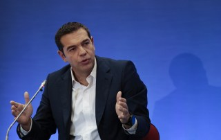 Greek PM Tsipras speaks during a news conference at the annual International Trade Fair of the city of Thessaloniki