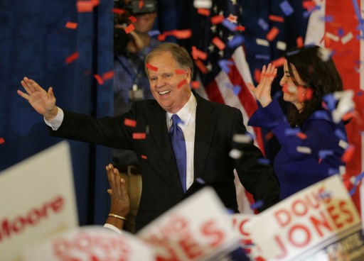 Democratic Alabama U.S. Senate candidate Doug Jones and wife Louise acknowledge supporters at the election night party in Birmingham, Alabama, U.S., December 12, 2017. REUTERS/Marvin Gentry - RC16B4B41EA0