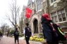 Students walk through the campus of Temple University in Philadelphia
