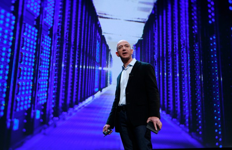 Amazon CEO Jeff Bezos speaks at a news conference during the launch of Amazon's new tablets in New York, September 28, 2011. Amazon.com Inc unveiled its long-awaited tablet computer on Wednesday with a $199 price tag, potentially cheap enough to give Apple Inc's iPad some serious competition for the first time. REUTERS/Shannon Stapleton (UNITED STATES - Tags: BUSINESS SCIENCE TECHNOLOGY) - GM1E79S1U5O01