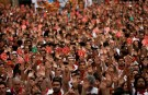 People take part in a protest against sexual violence against women during the San Fermin festival in Pamplona, northern Spain, July 7, 2016. REUTERS/Susana Vera - S1AETOGPURAA