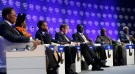 South African President Kgalema Motlanthe, Mozambique's Prime Minister Luisa Diogo, Rwanda's President Paul Kagame, Niall FitzGerald, Deputy Chairman, Thomson Reuters, Kenyan Prime Minister Raila Odinga, Senegal's President Abdoulaye Wade, and former Secretary-General of the United Nations Kofi Annan (L-R) attend a session at the World Economic Forum (WEF) in Davos January 30, 2009. More than 40 heads of state and government -- almost double the number last year -- will be joined at the WEF meeting by 36 finance ministers and central bankers, including the central bank chiefs of all the G8 group of rich countries except the United States. REUTERS/Denis Balibouse    (SWITZERLAND) - BM2E51U0VKA01