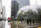 The Amazon Spheres are seen from Lenora Street, at Amazon's Seattle headquarters in Seattle, Washington, U.S., January 29, 2018.    REUTERS/Lindsey Wasson - RC166BB39970