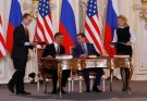 U.S. President Barack Obama (2nd L) and Russian President Dmitry Medvedev (2nd R) sign the new Strategic Arms Reduction Treaty (START II) at Prague Castle in Prague, April 8, 2010. REUTERS/Jason Reed (CZECH REPUBLIC - Tags: POLITICS MILITARY) - GM1E6481MKD01