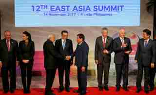 Leaders from the ASEAN and their Dialogue Partners chat after a photo opportunity at the ongoing 31st ASEAN Summit.