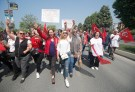 Supporters of the main opposition Republican People's Party (CHP) shout slogans during a May Day rally in Istanbul, Turkey May 1, 2018. REUTERS/Osman Orsal - UP1EE510XW2RJ
