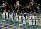 Reynolds High School students take part in a processional march at graduation ceremony.
