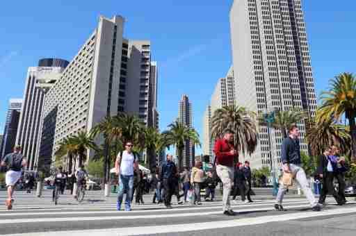 People walking in downtown San Francisco