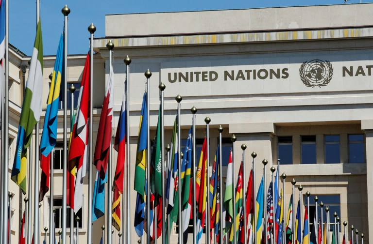 Flags are pictured outside the European headquarters of the United Nations in Geneva.