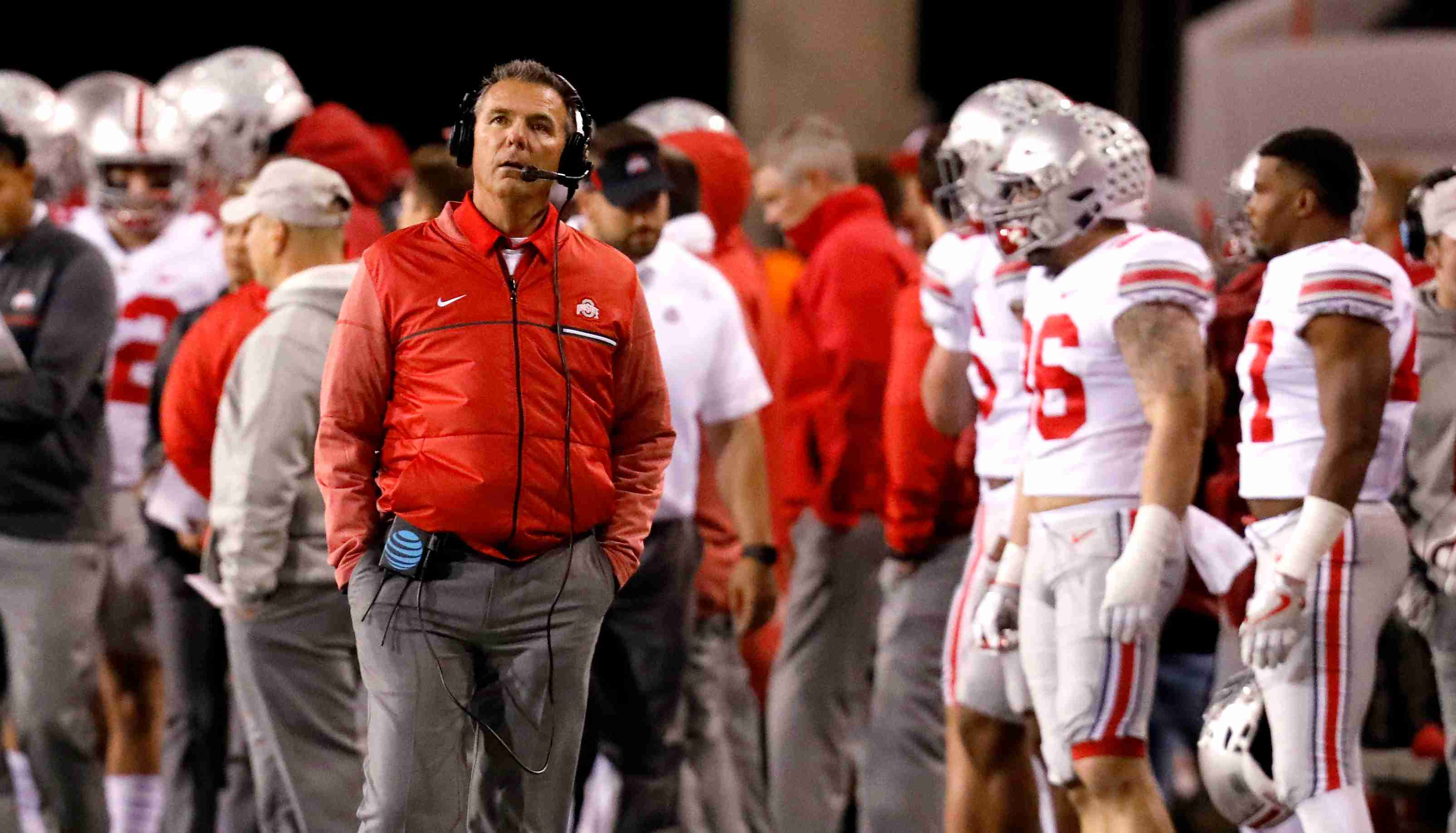 Oct 14, 2017; Lincoln, NE, USA; Ohio State Buckeyes head coach Urban Meyer looks at the scoreboard during the game against the Nebraska Cornhuskers in the second half at Memorial Stadium. Ohio State won 56-14. Mandatory Credit: Bruce Thorson-USA TODAY Sports - 10347589