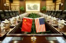 Flags of U.S. and China are placed for a meeting between Secretary of Agriculture Sonny Perdue and China's Minister of Agriculture Han Changfu at the Ministry of Agriculture in Beijing, China June 30, 2017.