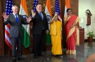 U.S. Defense Secretary James N. Mattis, U.S. Secretary of State Michael Pompeo, Indian Minister of External Affairs Sushma Swaraj and Indian Defense Minister Nirmala Sitharaman wave to reporters, at the Ministry of Foreign Affairs Jawaharlal Nehru Bhawan, New Delhi, India, Sept. 6, 2018. The leaders are meeting for the first ever U.S.-India 2+2 ministerial dialogue in which they are affirming their commitment to enhancing the U.S.-India relationship. DoD photo by Lisa Ferdinando
