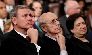 U.S. Supreme Court Chief Justice John G. Roberts  and Associate Justices Stephen Breyer and Elena Kagan listen during U.S. President Donald Trump's first State of the Union address to a joint session of Congress on Capitol Hill in Washington, U.S., January 30, 2018. REUTERS/Win McNamee/Pool - HP1EE1V0CVM4D