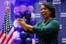Democratic candidate for U.S. House of Representatives Ayanna Pressley takes the stage after winning the Democratic primary in Boston, Massachusetts, U.S., September 4, 2018.   REUTERS/Brian Snyder - RC18A8D36090