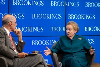 Strobe Talbott and Madeleine Albright at a Brookings event on September 7 2018.