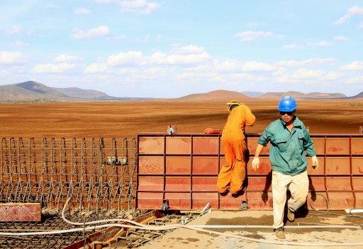 A Chinese construction engineer works at a section of the Mombasa-Nairobi standard gauge railway (SGR) at Emali in Kenya
