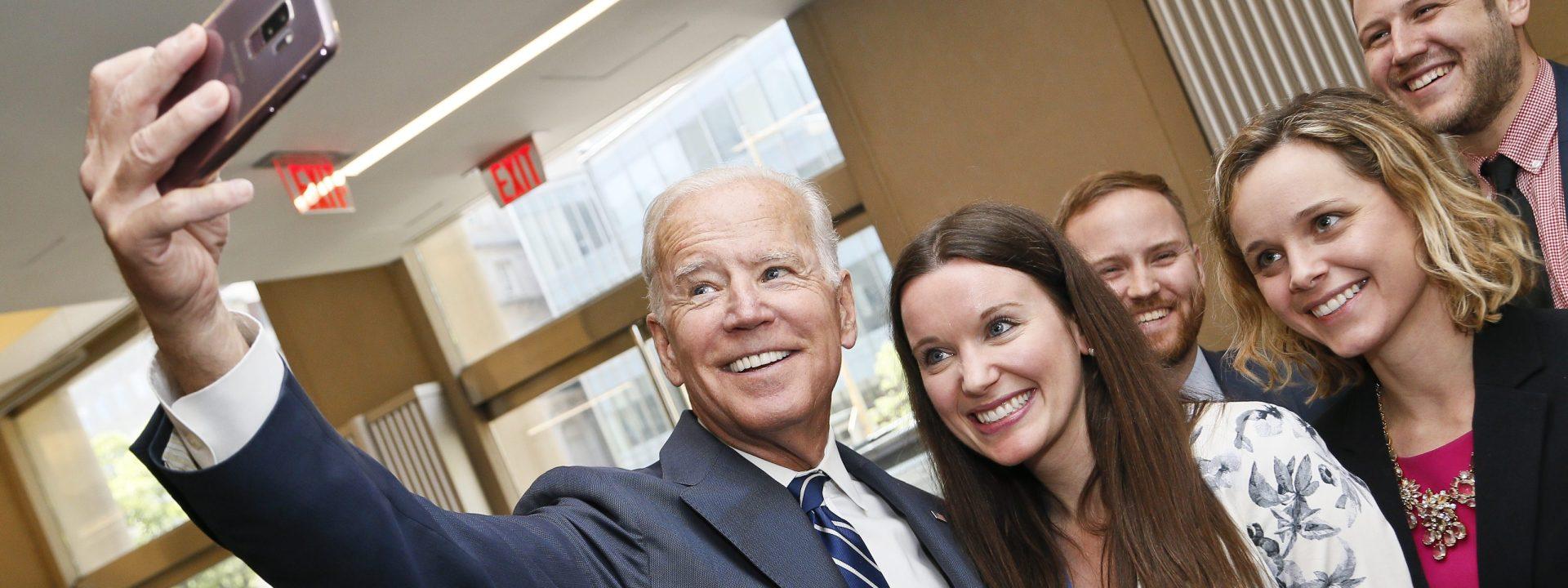 Joe Biden takes a selfie with Brookings staff.