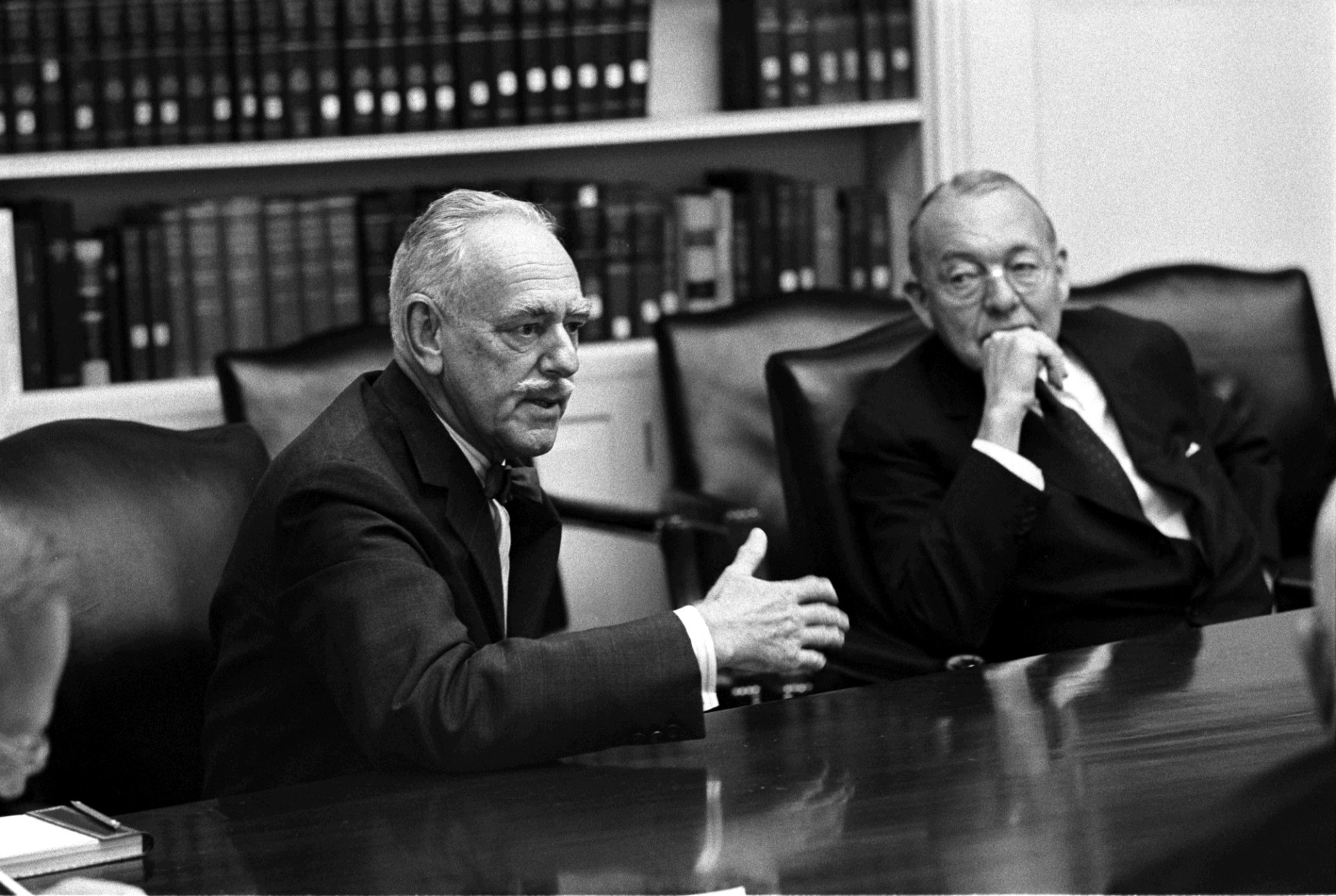 Dean Acheson (L) at Meeting of President's consultants on Foreign Affairs (The Wise Men) | LBJ Presidential Library