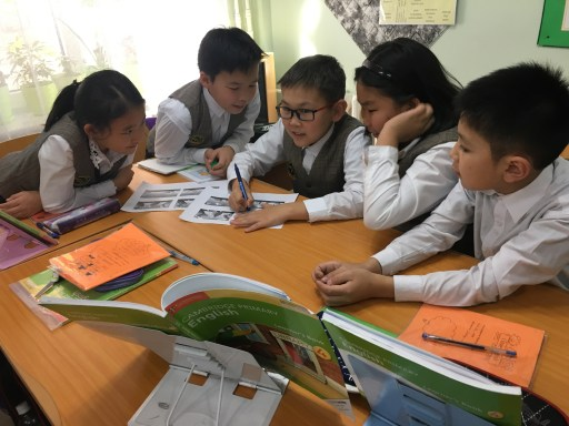 Students working collaboratively in a Mongolian school