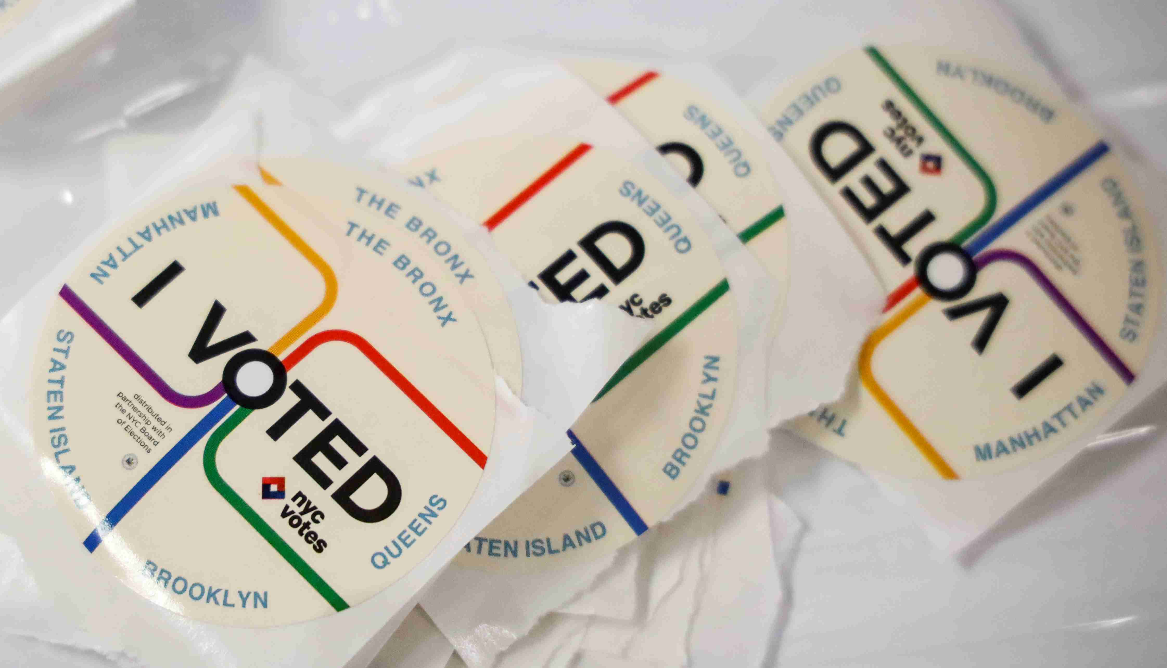 """""""I Voted"""" stickers are seen at a polling site during the New York State Democratic primary in New York City, U.S., September 13, 2018. REUTERS/Brendan McDermid - RC1122CFBDD0"""
