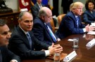 Environmental Protection Agency (EPA) Administrator Scott Pruitt (2nd L) attends as U.S. President Donald Trump meets with chief executives of major U.S. and foreign automakers at the White House in Washington, U.S. May 11, 2018.  REUTERS/Jonathan Ernst - RC1392DC3040