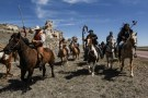 The Fort Laramie treaty riders cross the Nebraska and Wyoming border in Van Tassel, Wyoming, U.S., April 25, 2018. REUTERS/Stephanie Keith - RC1BDDE04710