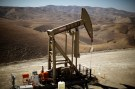 A pumpjack brings oil to the surface in the Monterey Shale, California, U.S.  April 29, 2013.  REUTERS/Lucy Nicholson/File Photo - S1AETMZZEVAA