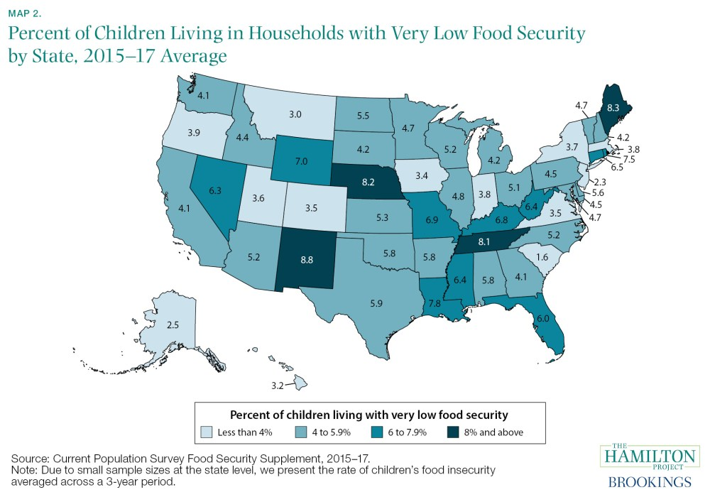 map of percentage of children living in households with very low food security by state