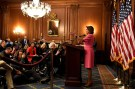 House Minority Leader Nancy Pelosi (D-CA) makes remarks a day after the Midterm Elections, in which the Senate Republicans retained their majority as the House saw Democrats sweep into control, and a possible return as Speaker for Pelosi, on Capitol Hill in Washington, U.S., November 7, 2018. REUTERS/Mike Theiler - RC1EAA04BEA0