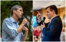 FILE PHOTOS: A combination photo shows U.S. Rep. Beto O'Rourke (L) and U.S. Senator Ted Cruz (R) speaking to supporters in Del Rio, Texas, on September 22, 2018 and in Columbus, Texas, U.S. on September 15, 2018 respectively.   REUTERS/Sergio Flores/File Photos - RC1F56113730