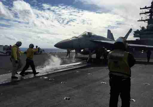 U.S. Navy aircraft carrier USS Ronald Reagan conducts military drills during Keen Sword, a joint field-training exercise involving U.S. military, Japan Maritime Self-Defense Force personnel and Royal Canadian Navy, at sea November 3, 2018. REUTERS/Tim Kelly - RC181BE22600