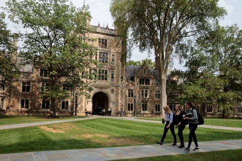Students walk in the courtyard of the Law school at the University of Michigan in Ann Arbor, Michigan, U.S., September 20, 2018.  Picture taken on September 20, 2018.  REUTERS/Rebecca Cook - RC12527F9EE0