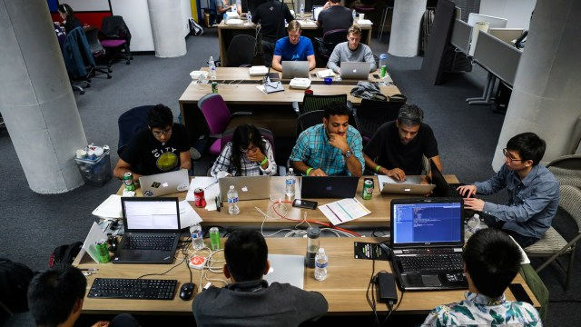 """People work on their computers during a weekend Hackathon event in San Francisco, California, U.S. July 16, 2016. REUTERS/Gabrielle Lurie SEARCH """"LURIE TECH"""" FOR THIS STORY. SEARCH """"WIDER IMAGE"""" FOR ALL STORIES. - RC1E2E809C80"""