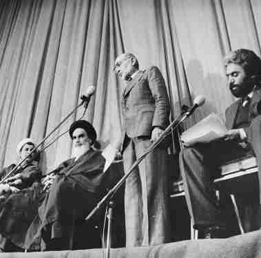 Mehdi Bazargan's inauguration in the Hall of Alavi Madrasi, February 4, 1979. / Wikimedia Commons