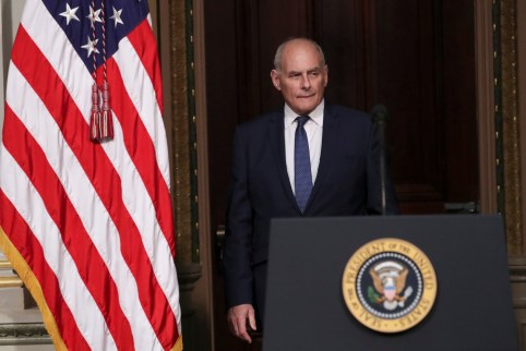 White House Chief of Staff John Kelly arrives for the Interagency Task Force to Monitor and Combat Trafficking in Persons annual meeting at the White House in Washington, U.S., October 11, 2018. REUTERS/Jonathan Ernst - RC1AF68C68D0